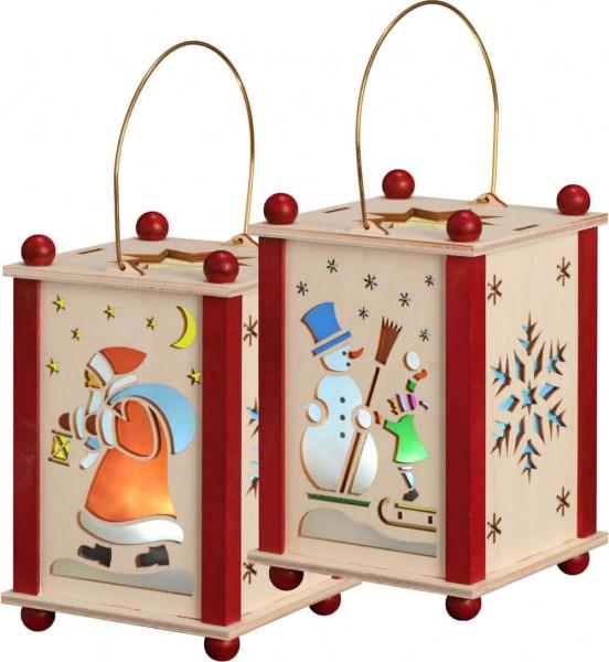 Erzgebirgische Laterne mit dem Motiv Weihnachtsmann & Schneemann in natur und rot, inklusive LED - Lich mit Batterien von Seiffener Volkskunst eG …