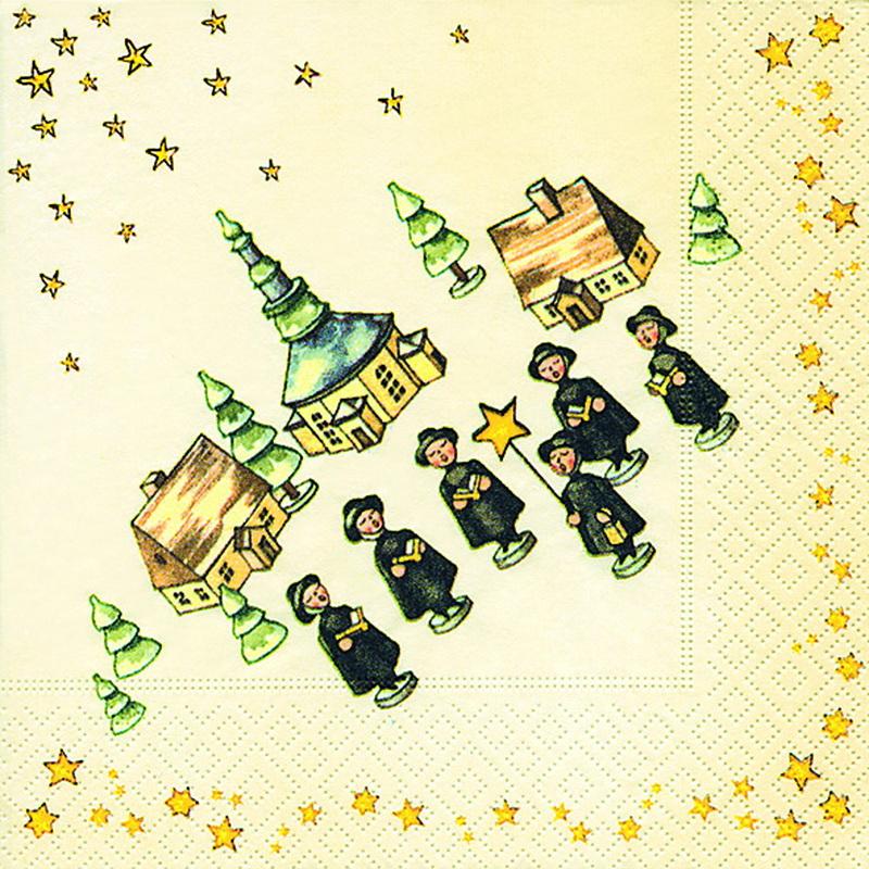 Weihnachtsservietten mit dem Motiv Weihnachtssänge, 20 Stück, 3 - lagig, 33 x 33 cm