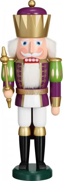 Darf ich vorstellen: Ihre Majestät der Nussknacker König in purpur-weiß, 40 cm von der Seiffener Volkskunst eG Seiffen/ Erzgebirge. Ein stolzer …