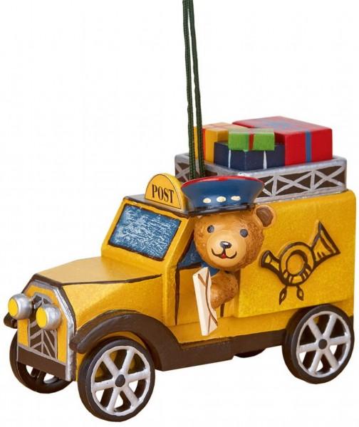 Baumbehang & Christbaumschmuck Postauto mit Teddy von Hubrig Volkskunst Zschorlau/ Erzgebirge ist 8 cm groß.