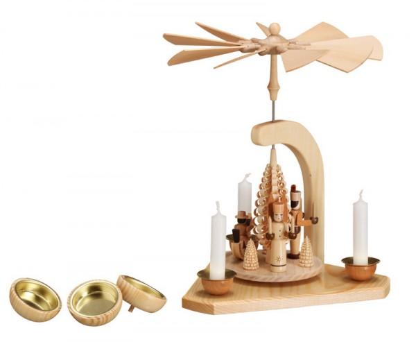 Weihnachtspyramide Engel und Bergmann und Reiterlein, natur, 26 cm die Teelichthalter und die Kerzenhalter zum Umstecken sind im Lieferumfang enthalten von …