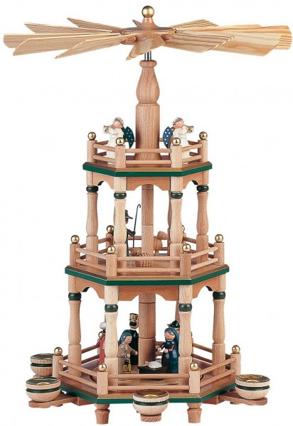 KWO Weihnachtspyramide Motiv Christi Geburt, natur