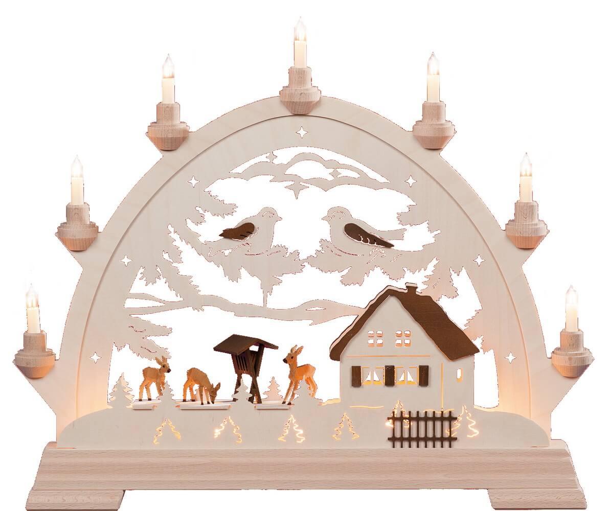 KWO Schwibbogen Motiv Rundbogen mit Rehen aus dem Erzgebirge elektrisch beleuchtet