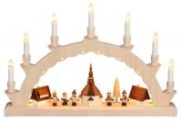 Vorschau: LED Schwibbogen von Nestler-Seiffen mit dem Motiv Seiffener Dorf mit Thiel Kinder und 3-facher Beleuchtung_Bild1