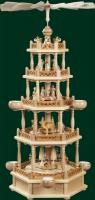 Vorschau: Weihnachtspyramide Christi Geburt, 4 - stöckig, 74 cm für Teelichter von Richard Glässer GmbH Seiffen/ Erzgebirge