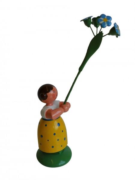 Blumenkinder - Feld- und Wiesenblumenkind Mädchen mit Vergissmeinnicht, 11 cm von WEHA-Kunst Dippoldiswalde/ Erzgebirge