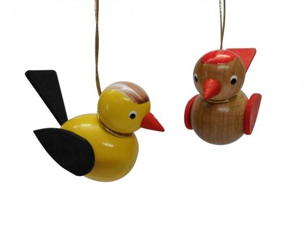 Vögel zum hängen, 2 Stück, gelb/braun von Nestler-Seiffen
