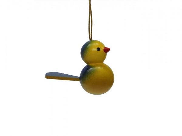 Vögel zum hängen, 5 Stück, gelb/blau aus Buchenholz gefertigt, bemalt, 3 cm, Nestler-Seiffen.com OHG Seiffen/ Erzgebirge