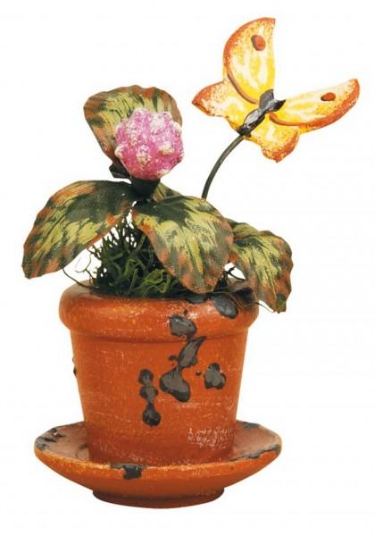 Blumentopf mit Klee und Schmetterling von Hubrig aus Holz
