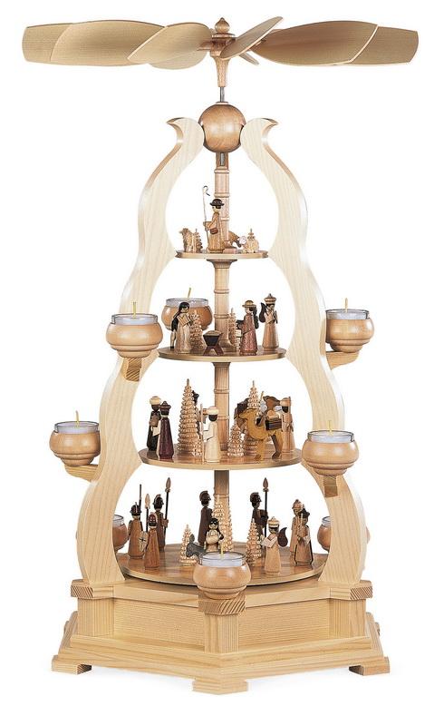 Weihnachtspyramide & Bogenpyramide Heilige Geschichte, 4 - stöckig, natur, für Teelichter, 38 x 33 x 64 cm, Müller GmbH Kleinkunst aus dem Erzgebirge