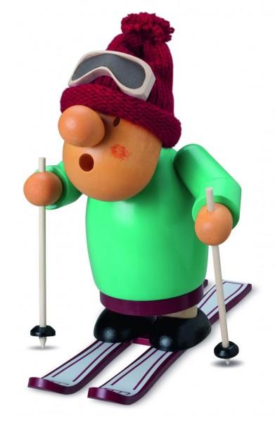 Räuchermann auf Ski aus Holz von Müller Kleinkunst aus Seiffen