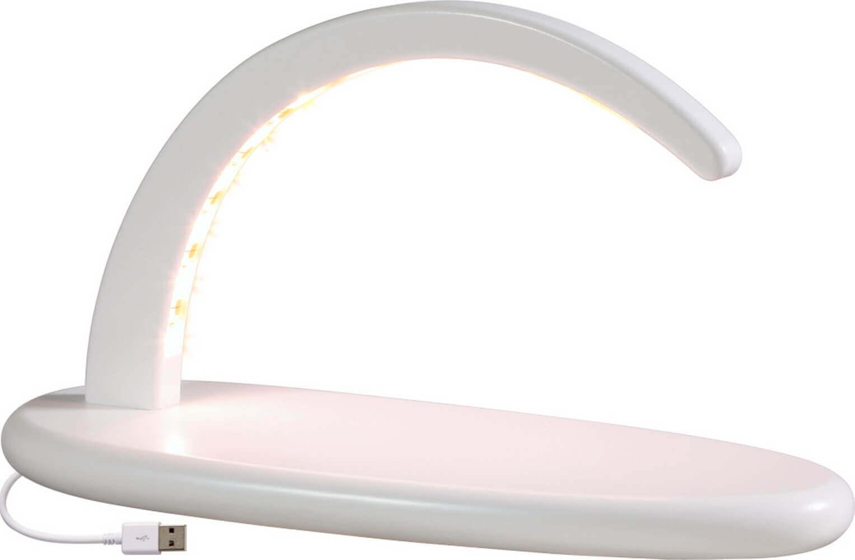weißer Schwibbogen, Leerbogen mit LED Beleuchtung