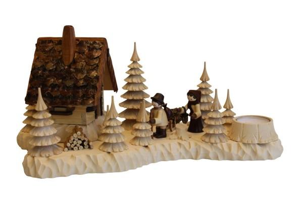 Räucherhaus Wildhüterhütte mit Wildfütterer, Romy Thiel Figuren von A. Lahl_Bild1