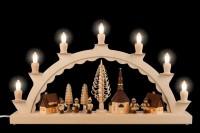 Vorschau: Schwibbogen von Nestler-Seiffen mit dem Motiv Seiffener Dorf mit Romy Thiel Kinder, komplett elektrisch beleuchtet_Bild2