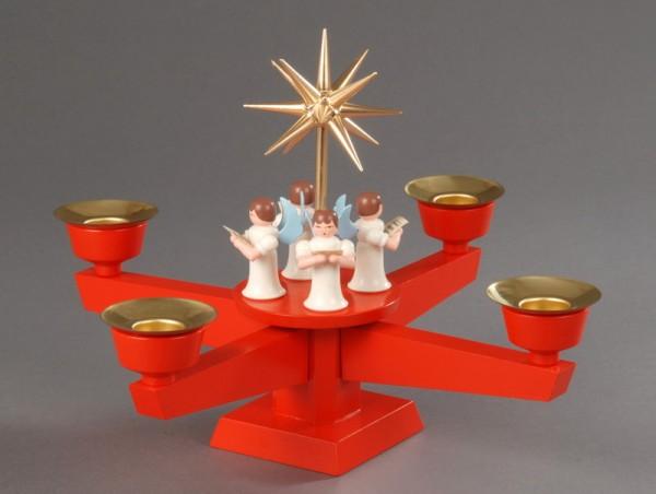 Adventsleuchter, rot - 4 stehende Engel, Adventsleuchter aus massivem Buchenholz, rot lackiert, Engel mit Gesangbuch gedrechselt, in Handarbeit bemalt, Stern …