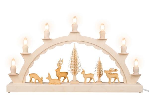 Schwibbogen von Nestler-Seiffen mit geschnitzten Hirschen, elektrisch beleuchtet_Bild1