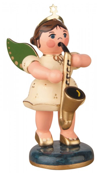 Hubrig Volkskunst Weihnachtsengel mit Saxophon aus Holz
