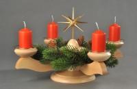 Vorschau: Adventsleuchter mit Weihnachtsstern und Tannenkranz, natur hergestellt von Albin Preißler_Bild2
