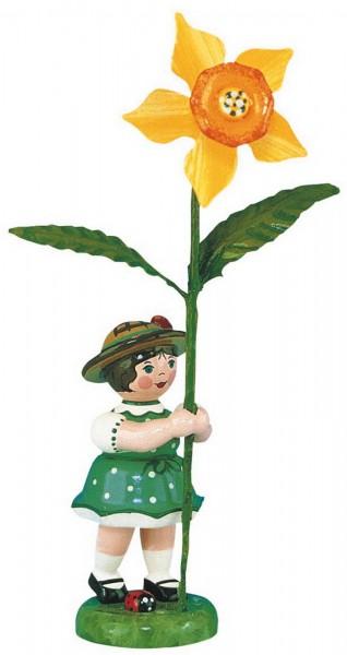 Blumenkind mit Narzisse von Hubrig Volkskunst GmbH Zschorlau/ Erzgebirge ist 11 cm groß.