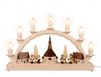 Vorschau: Schwibbogen von Nestler-Seiffen mit dem Motiv kleines Seiffener Dorf mit Thiel Kinder_Bild1