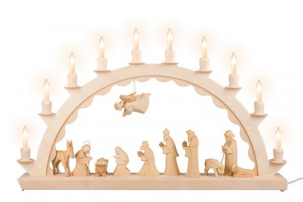 Schwibbogen mit geschnitzter Christi Geburt und Kleinschaftkerzen, geschnitzt, natur, elektrisch beleuchtet, 60 cm x 29 cm, Nestler-Seiffen.com OHG Seiffen/ …