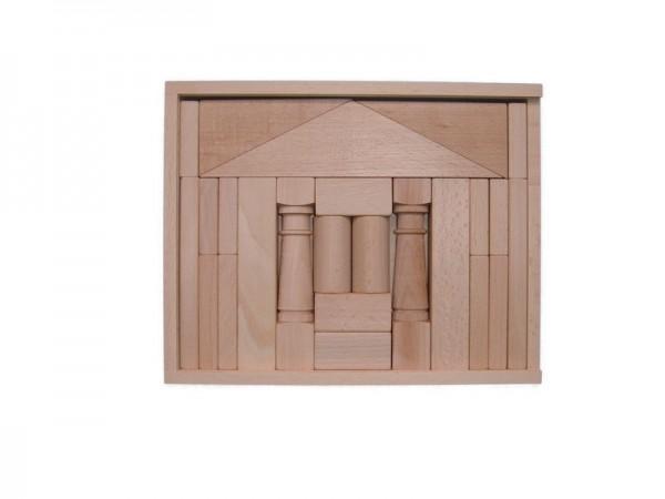 Holzbaukasten Domizil I, 24 Holzbausteine, 28,5 x 22,5 x 4,5 cm, Spielalter ab 1 Jahr, Erzgebirgische Holzspielwaren Ebert GmbH Olbernhau/ Erzgebirge