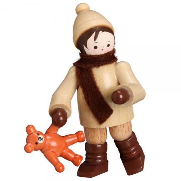 Winterkind mit Teddy, 6 cm von Romy Thiel Deutschneudorf/ Erzgebirge