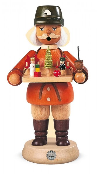 Räuchermann Spielwarenverkäufer aus Holz von Müller Kleinkunst aus Seiffen