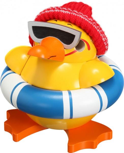 lustige Räucherfirgur Ente mit Brille und Schwimmring