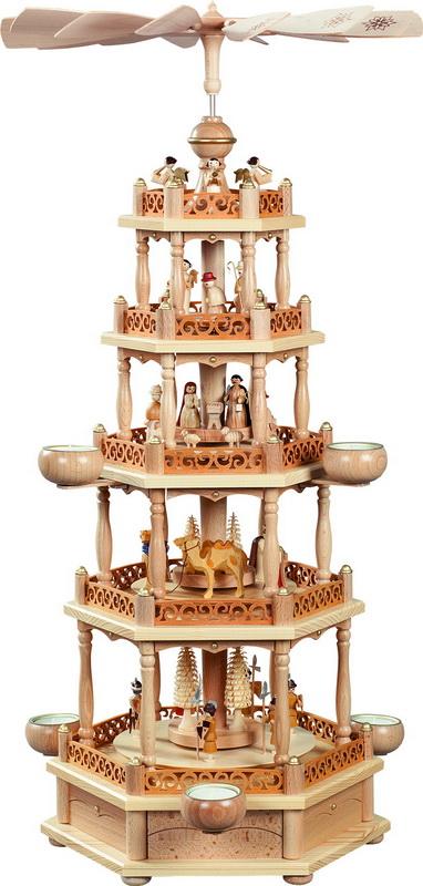 Weihnachtspyramide Christi Geburt, 4 - stöckig, 74 cm für Teelichter von Richard Glässer GmbH Seiffen/ Erzgebirge