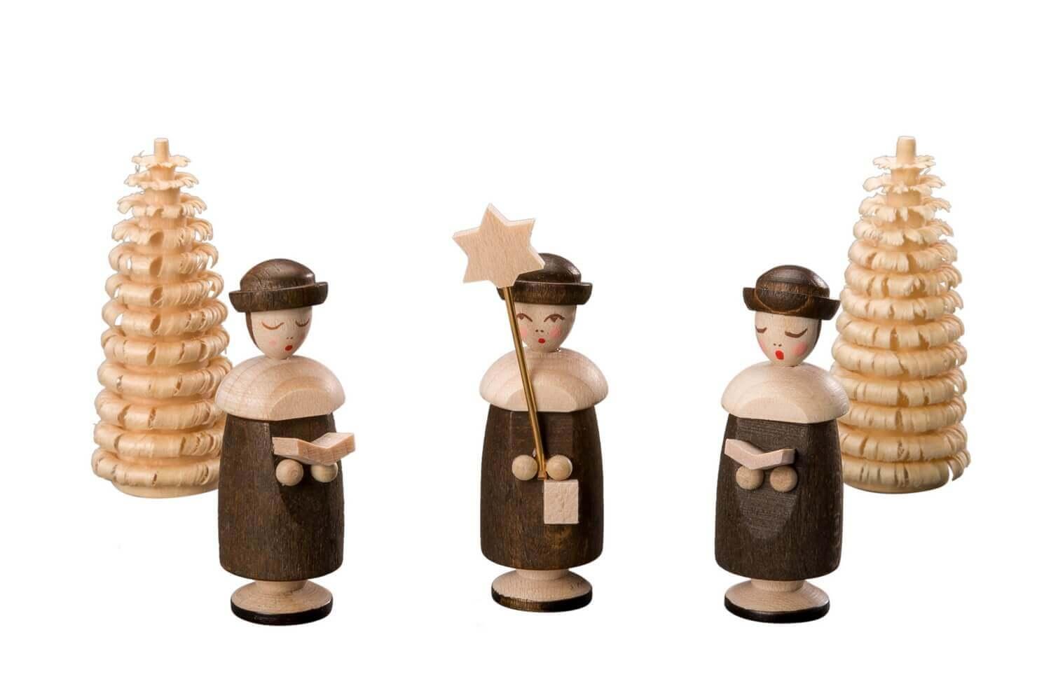 Albin Preißler Kurrendefiguren mit Hut und 2 Ringelbäumchen, natur