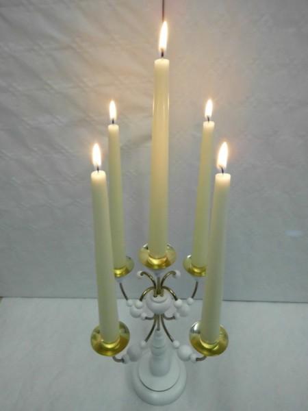 Leuchter, 5 - armig weiß ohne Kerzen, 28 cm hoch, Nestler-Seiffen.com OHG Seiffen/ Erzgebirge