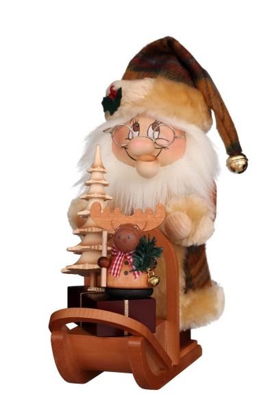 Ulbricht Wichtel Weihnachtsmann mit Schlitten Räuchermännchen , 28 cm aus Seiffen