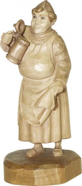 Mönch mit Bierkrug, gebeizt, geschnitzt, 25 cm