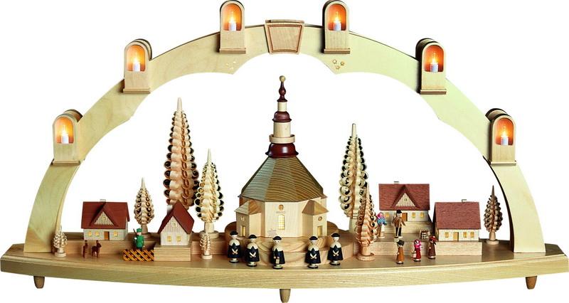 Schwibbogen Seiffener Kirche mit Dorf, komplett elektrisch beleuchtet, 41 x 80 cm, Richard Glässer GmbH Seiffen/ Erzgebirge