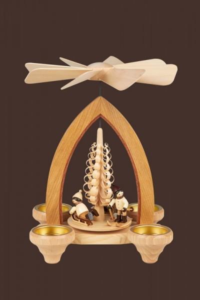 Weihnachtspyramide & Tischpyramide Winterkinder für Teelichter, 24 cm, Heinz Lorenz Olbernhau/ Erzgebirge