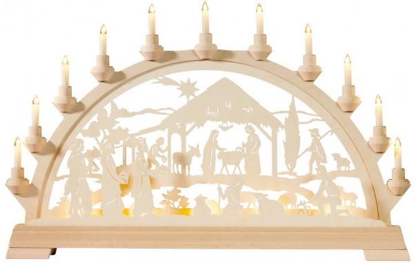 KWO Schwibbogen Christi Geburt mit Königen aus Holz, elektrisch beleuchtet