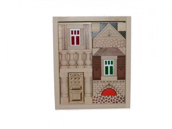 Der Baukasten Residenz besteht aus49 Holzbausteinen undund basiertauf demtraditionellen Blumenauer …