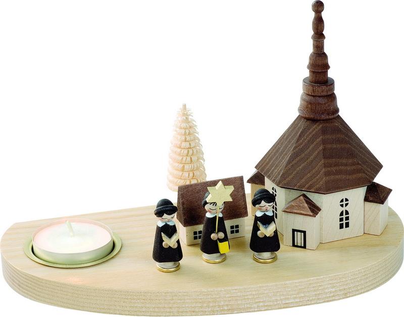 Weihnachtskerzenhalter Seiffener Kirche mit Kurrende für Teelichter, 14 cm, Richard Glässer GmbH Seiffen/ Erzgebirge