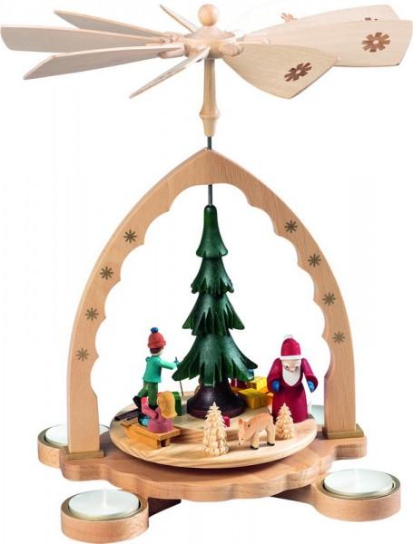 Weihnachtspyramide Weihnachtswald für Teelichter, bunt, 27 cm, Richard Glässer GmbH Seiffen/ Erzgebirge