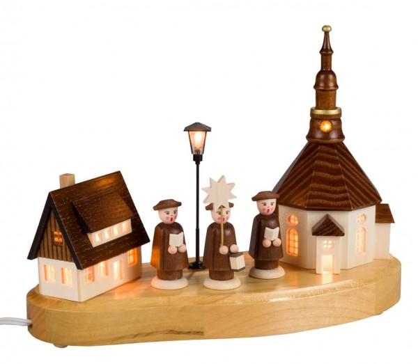 Sockelbrett Seiffener Dorf mit Kurrende von Nestler-Seiffen mit beleuchteter Straßenlaterne_Bild1