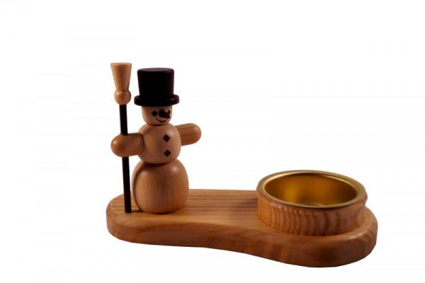 Weihnachtskerzenhalter Schneemann für Teelichter, natur, 8 cm, Spielwarenmacher Günther Seiffen/ Erzgebirge