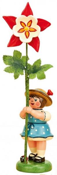 Blumenkind Mädchen mit Akelei, 11 cm von Hubrig Volkskunst GmbH Zschorlau/ Erzgebirge