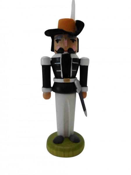 Miniaturnussknacker Musketier, schwarz, 7 cm, Seiffen/ Erzgebirge