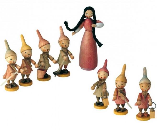 KWO Märchenfiguren Schneewittchengruppe, 8 - teilig aus Holz aus dem Erzgebirge