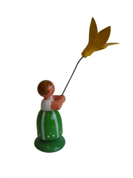 Blumenkinder - Feld- und Wiesenblumenkind Mädchen mit Narzisse, 11 cm von WEHA-Kunst Dippoldiswalde/ Erzgebirge