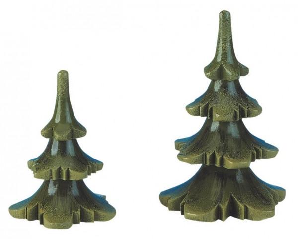 Dekofigur aus Holz Sommerbaum 2er Set von Hubrig Volkskunst GmbH Zschorlau/ Erzgebirge sind6 cm und 8 cm groß.