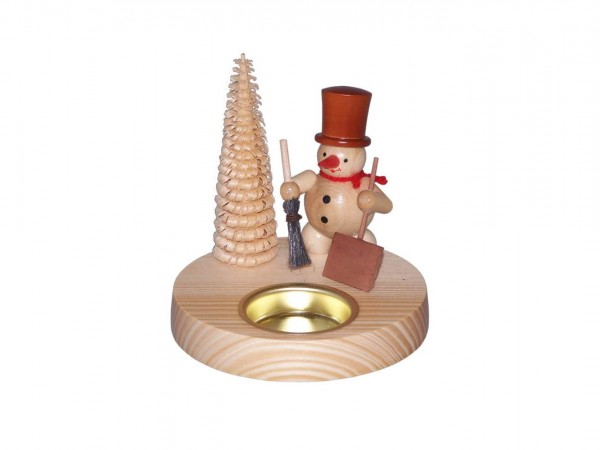Teelichthalter Schneemann mit Schippe, natur, 10 cm von Volker Zenker aus Seiffen