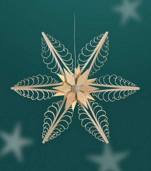Fensterschmuck Holzstern mit 6 Kerzen, Durchmesser 32 cm, elektrisch beleuchtet, Martina Rudolph Seiffen/ Erzgebirge