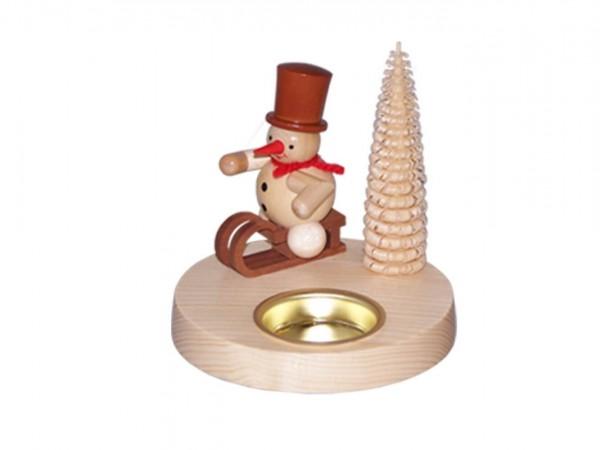 Teelichthalter Schneemann auf Schlitten, natur, 10 cm von Volker Zenker aus Seiffen
